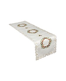 """Ribbon Wreath Embroidered Cutwork Christmas Table Runner, 15"""" x 53"""""""