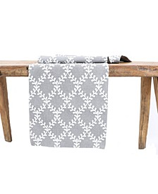 Piluki Leaf Crewel Embroidered Table Runner