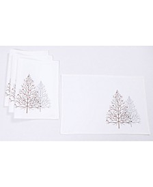 "Festive Trees Embroidered Christmas Placemats 14"" x 20"", Set of 4"