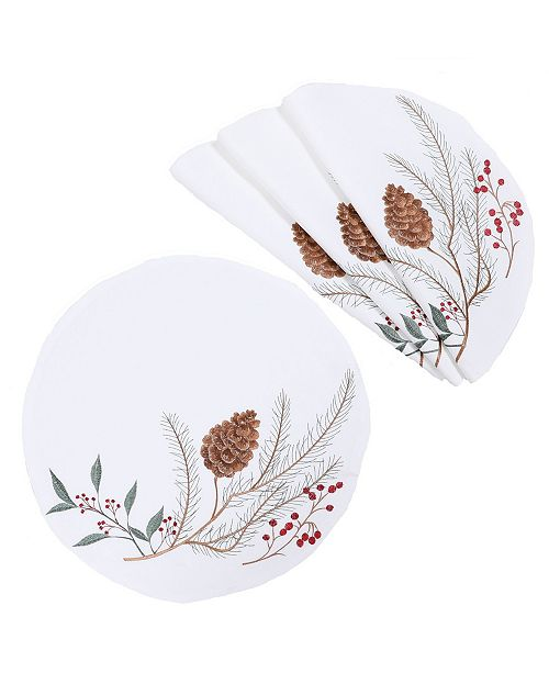 Manor Luxe Pinecone and Berry Embroidered Christmas Placemats, Set of 4