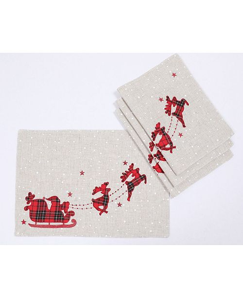 """Manor Luxe Applique Tartan Santa Sleigh with Reindeers Christmas Placemats 14"""" x 20"""", Set of 4"""