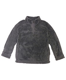 Boys Zip Solid Soft Sherpa Pullover