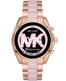 Michael Kors Access Bradshaw 2 Rose Gold-Tone Stainless Steel & Blush Acetate Bracelet Touchscreen Smart Watch 44mm