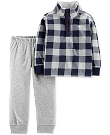 Toddler Boys 2-Pc. Plaid Fleece Top & Jogger Pants Set