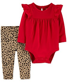 Baby Girls 2-Pc. Ruffled Bodysuit & Animal-Print Pants Cotton Set