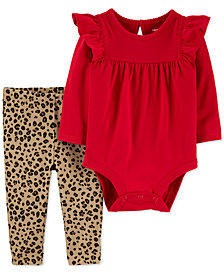 Carter's Baby Girls 2-Pc. Ruffled Bodysuit & Animal-Print Pants Cotton Set