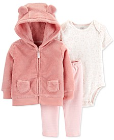 Baby Girls 3-Pc. Faux-Fur Hoodie, Animals-Print Bodysuit & Striped Pants Set