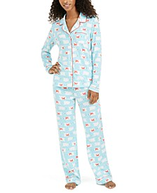 Printed Notch Collar Pajama Set