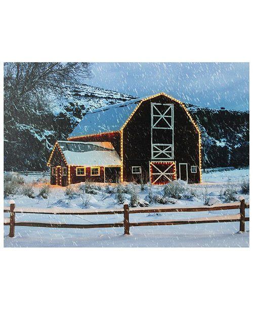 "Northlight LED Fiber Optic Snowy Barn Christmas Canvas Wall Art, 12"" x 15.75"""