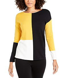 Petite Drop-Shoulder Colorblocked Top, Created For Macy's