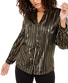 Metallic-Stripe Blouse, Created For Macy's