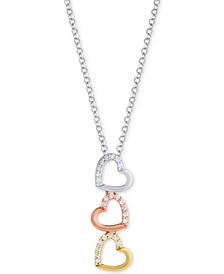 "Diamond Triple Heart Tricolor 18"" Pendant Necklace (1/8 ct. t.w.) in Sterling Silver, Gold-Plate & Rose Gold-Plate"