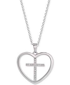 "Diamond Cross Heart 18"" Pendant Necklace (1/10 ct. t.w.) in Sterling Silver"