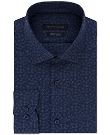 Men's Slim-Fit Non-Iron THFlex Performance Stretch Floral-Print Supima Cotton Dress Shirt