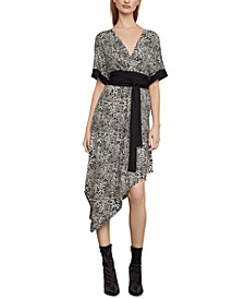 Leopard-Print Handkerchief-Hem Dress