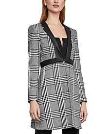 Plaid Jacket With Faux-Leather Trim