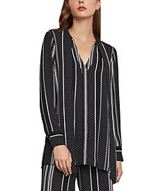 Striped & Dot-Print Tie-Neck Blouse