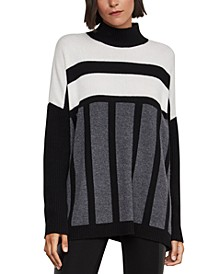 Striped Mock-Neck Oversized Sweater