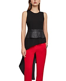 Asymmetrical Top With Faux-Leather Trim
