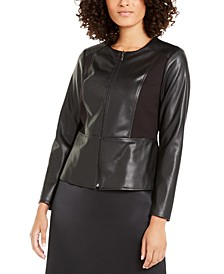Mixed Faux-Leather Ponté-Knit Peplum Jacket, Created For Macy's