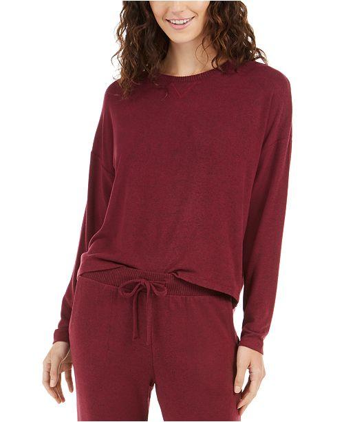 Alfani Cozy Knit Long Sleeve Sleep Top, Created For Macy's
