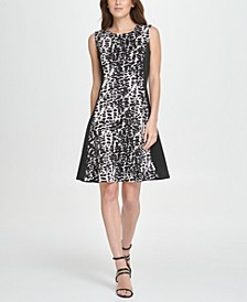 Colorblock Animal Print Fit & Flare Dress