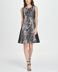 DKNY Colorblock Animal Print Fit & Flare Dress