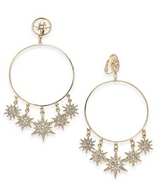 Gold-Tone Pavé Shaky Star Clip-On Drop Hoop Earrings, Created For Macy's
