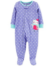 Baby Girls 1-Pc. Owl Fleece Footie Pajamas