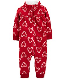 Baby Girls Candy Cane Fleece Coverall