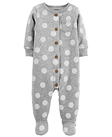 Baby Girls Dot-Print Footed Fleece Coverall