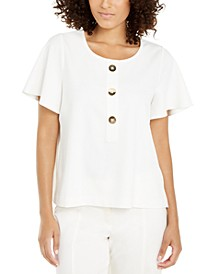 Button-Neck Flutter-Sleeve Top, Created For Macy's
