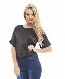Women's Contrast Chiffon Sleeve Top
