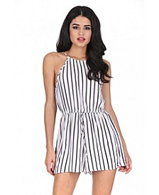 Women's Striped Tie Waist Romper