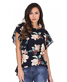 Women's Bold Floral Frill Detail Top