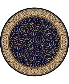 "CLOSEOUT! 1599/1555/NAVY Pesaro Blue 5'3"" x 5'3"" Round Area Rug"