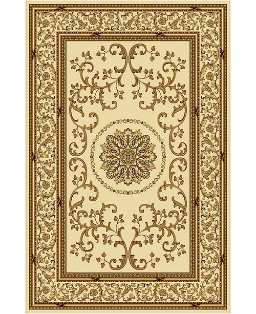 """KM Home CLOSEOUT! 1419/1311/IVORY Navelli Ivory 5'5"""" x 8'3"""" Area Rug"""
