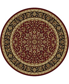 """CLOSEOUT! 1318/1537/BURGUNDY Navelli Red 7'10"""" x 7'10"""" Round Area Rug"""