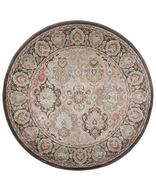 "KM Home CLOSEOUT! 3802/0014/BROWN Gerola Brown 5'3"" x 5'3"" Round Area Rug"