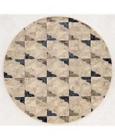"""CLOSEOUT! 3793/1004/BONE Imperia Ivory/ Cream 5'3"""" x 5'3"""" Round Area Rug"""