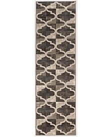 "CLOSEOUT! 3793/1013/BROWN Imperia Brown 2'2"" x 7'7"" Runner Rug"