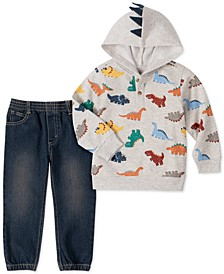 Little Boys 2-Pc. Dino-Print French Terry Fleece Hoodie & Denim Joggers Set