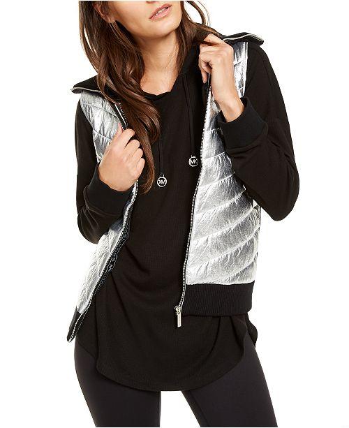 Michael Kors Sweater-Back Puffer Vest, Regular & Petite