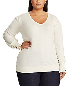 Plus Size Buttoned-Cuff Long-Sleeve Sweater