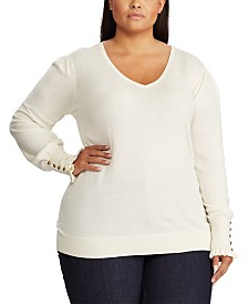 Lauren Ralph Lauren Plus Size Buttoned-Cuff Long-Sleeve Sweater