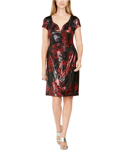 Connected Sequined Floral-Print Dress