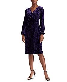Wrap-Style Velvet Dress