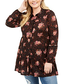 Plus Size Printed Long Button-Up Shirt, Created For Macy's