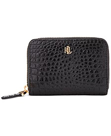 Croc-Embossed Leather Zip Wallet