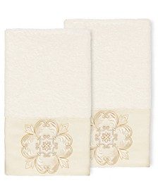 100% Turkish Cotton Alyssa 2-Pc. Embellished Hand Towel Set